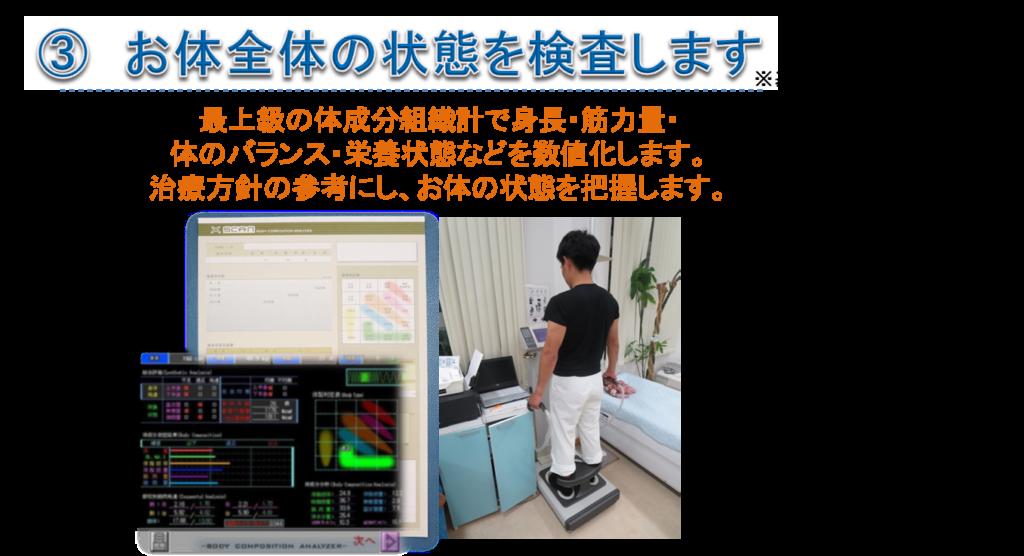 最上級の体成分組織計で身長・筋力量・ 体のバランス・栄養状態などを数値化します。 治療方針の参考にし、お体の状態を把握します。