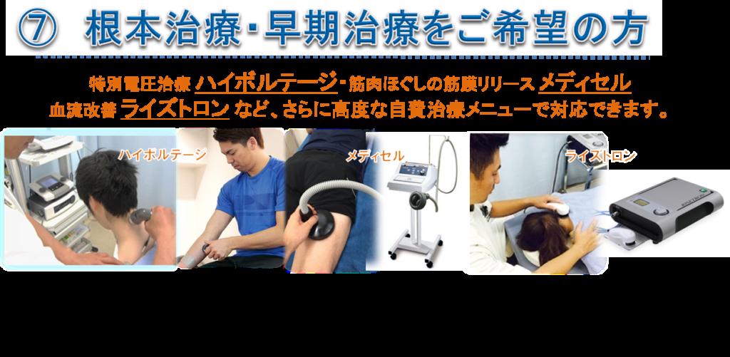 特別電圧治療 ハイボルテージ・筋肉ほぐしの筋膜リリース メディセル 血流改善 ライズトロン など、さらに高度な自費治療メニューで対応できます。